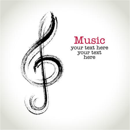 trompeta: Dibujo clef negro con pinceladas de Grunge