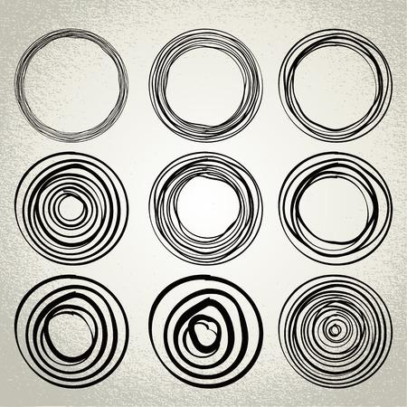 hand drawn circles, design elements Vector