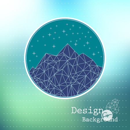 mountaintop: Vector  template abstract night mountain low-poly style illustration