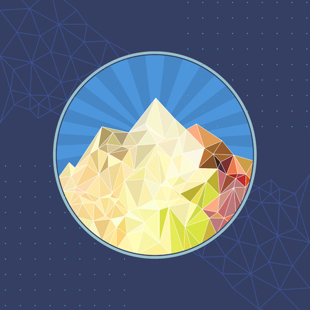 Vector  template abstract sun mountain low-poly style illustration