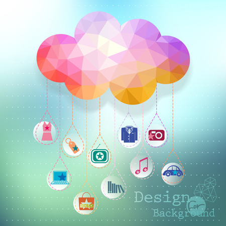 phone system: Vector  clouds e-commerce concept, site template in cloud form illustration  Illustration