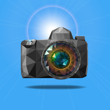 Vector  camera with colorful Triangle shape Vector