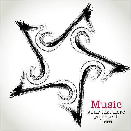 Achtste noot en de vijfpuntige ster pictogram Muziek