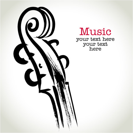 kammare: Grunge ritning fiol med penseldrag Illustration