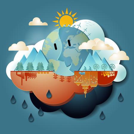 地球温暖化  イラスト・ベクター素材