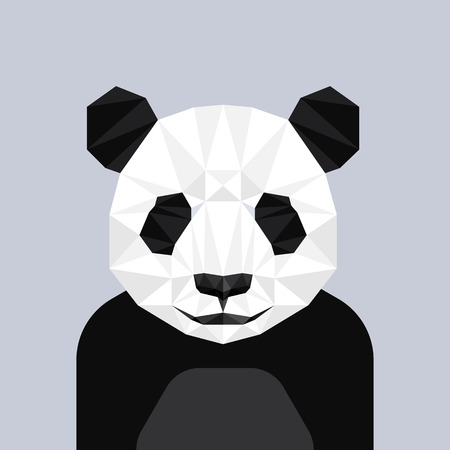 Geometric polygon panda head, triangle pattern, vector illustration Vector