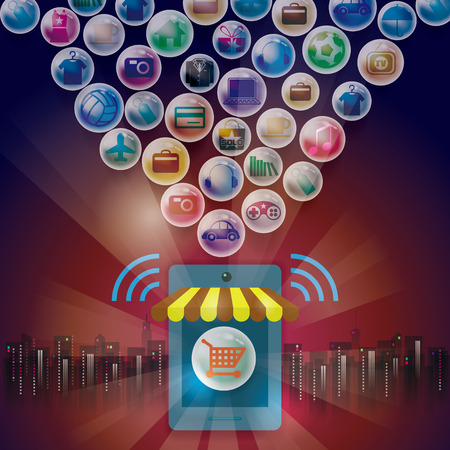 sell online: Online shopping eshop. Social media payments. Illustration