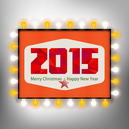 Happy new year background with advertising board for 2015 Vector