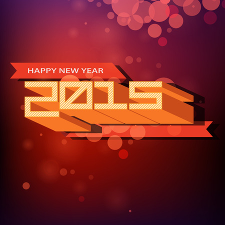 Happy new year background with retro dimensional characters for 2015 Vector