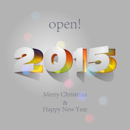 newyear: 2015: Papel plegable con Carta, Feliz A�o Nuevo. Vectores