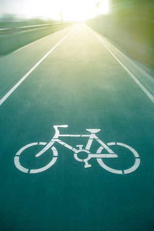 bicycle lane: Bicycle sign on the road  in public park