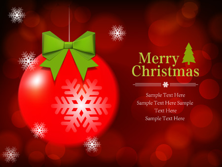 Christmas Ball on defocus shiny background with space for your text Vector