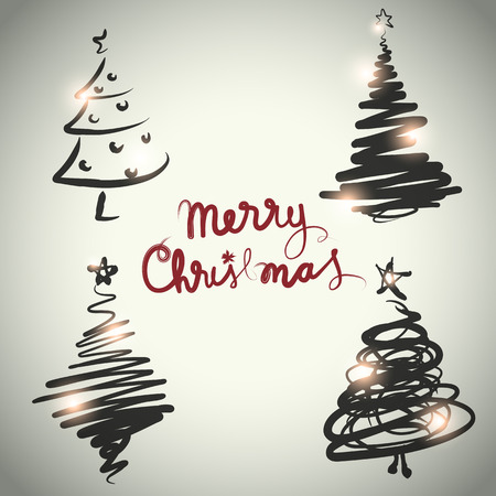 Vector christmas tree design set sketch style Vector