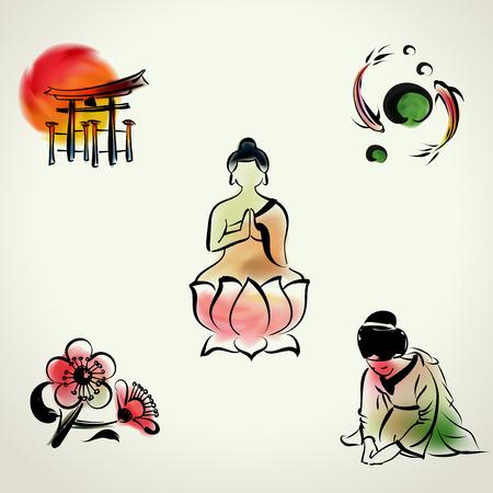etiquette voyage: Icône culturelle japonaise avec un style d'aquarelle