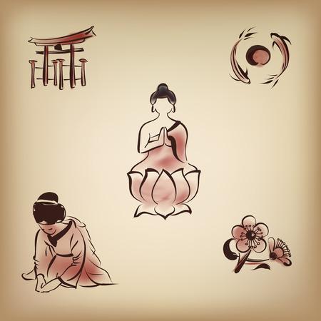 etiquette voyage: Icône culturelle japonaise avec un style de peinture à l'encre