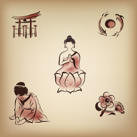 Japanese cultural icon with ink painting style