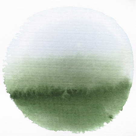 Art watercolor green and blue gradient circle paint stain isolated on white rough texture paper background photo