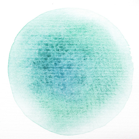 penetracion: Acuarela Arte círculo pintura verde mancha aislada en blanco papel de textura áspera fondo