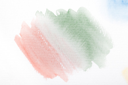 Pink and green gradient with the watercolor paint strokes on white background with space for your texts and images