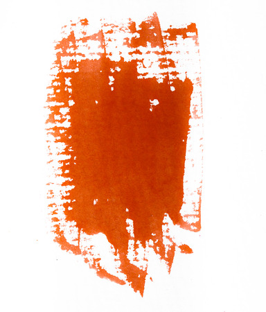 pictured: Orange watercolor brush strokes on white rough texture paper with space for your texts and images Stock Photo