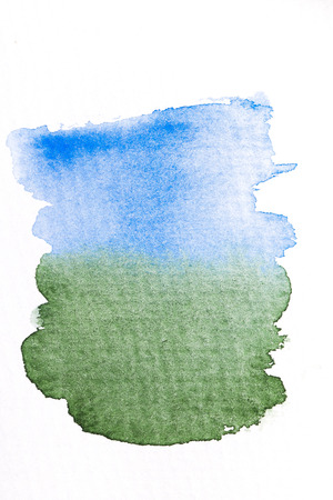 space for images: Blue and green gradient watercolor brush strokes on white rough texture paper with space for your texts and images Stock Photo