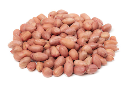 un cook: Red peanut on white Stock Photo