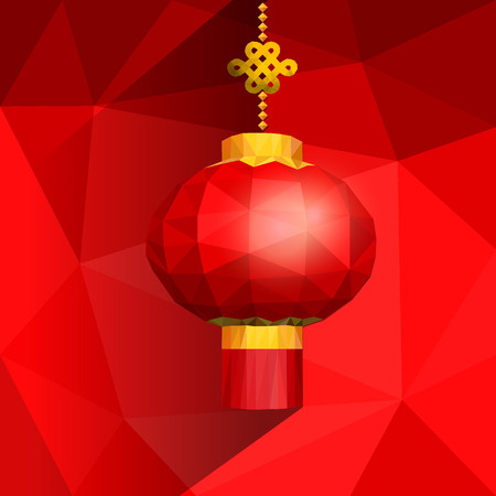 shatter: Chinese red lanterns on shatter gradient background with low poly style for Chinese new year.
