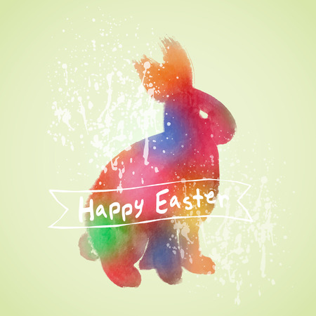 aquarelle: Vector: Easter card with rabbit watercolor painting