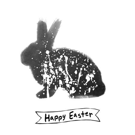 lapin silhouette: Carte de P�ques avec de l'encre de lapin brosse croquis, noir et blanc