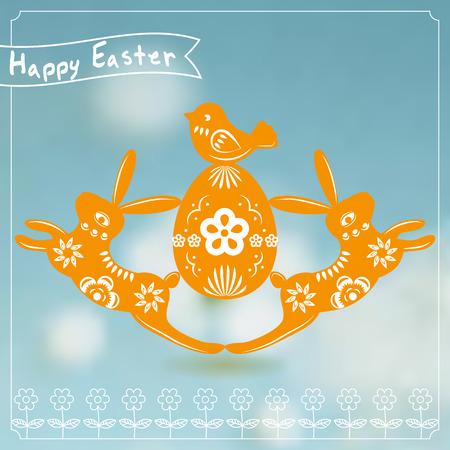 lapin silhouette: Carte de Pâques avec le découpage de papier de lapin.