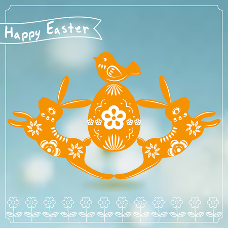 Easter card with rabbit paper cutting. Vector