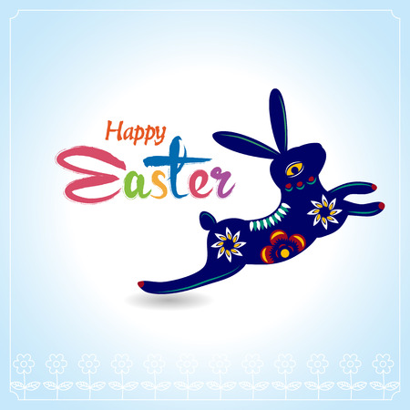 Happy Easter Typographical Background with easter bunny, easter rabbit Vector