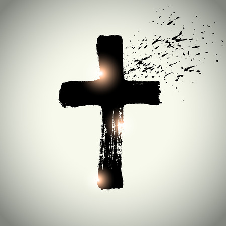 cross: Hand drawn black grunge cross, simple Christian cross sign