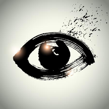 oog icoon met penseelvoering stijl