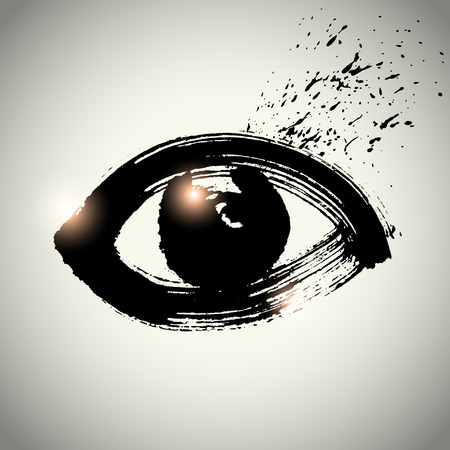 eye icon with brushwork style Illustration
