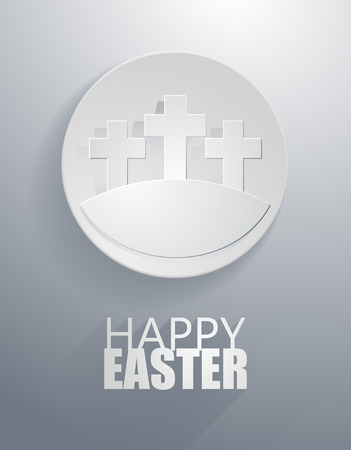 easter gray cross icons with paper cut style Vector