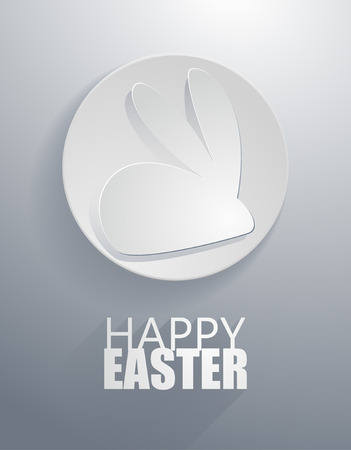 papercut:  easter rabbit icon with paper cut style Illustration