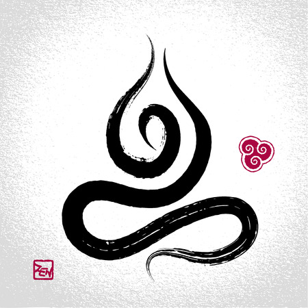 harmony: Yoga lotus pose and air element symbol with oriental brushwork style