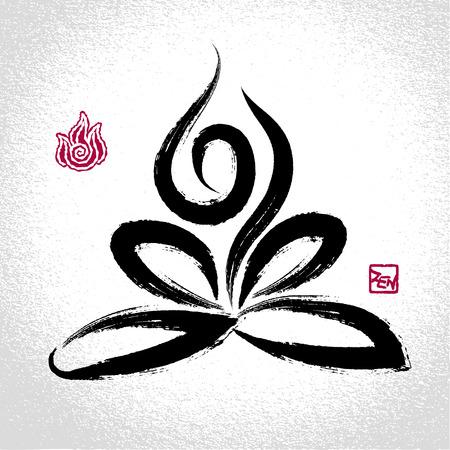 tattoo girl: Loto pose de yoga y el elemento fuego s�mbolo con estilo pincelada oriental