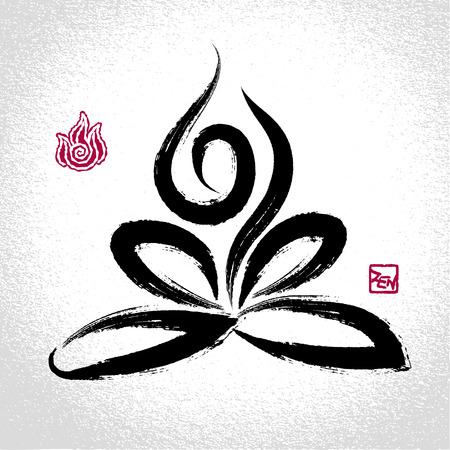 female pose: Yoga lotus pose and fire element symbol with oriental brushwork style