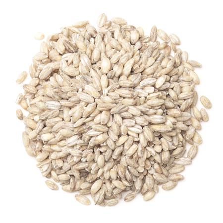 pearl barley: Pearl barley  isolated on white by top view Stock Photo