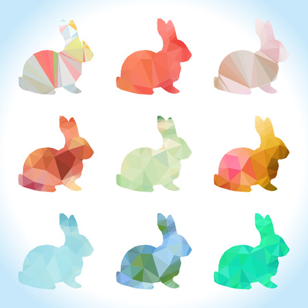 Rabbit set with low polygon style photo