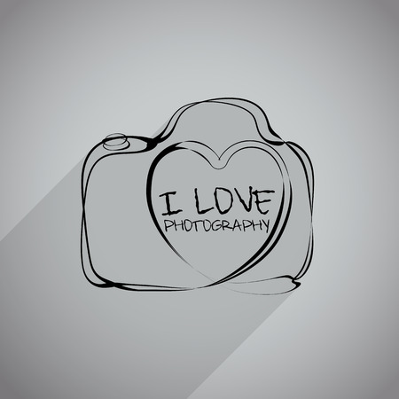 heartshaped: Vector: camera icon with heart-shaped. Doodle hand drawn sign in sketch childish style.