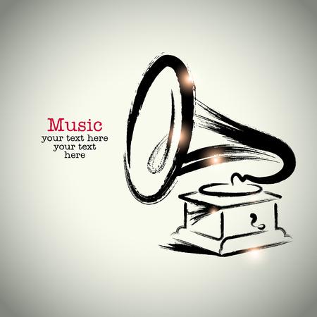 phonograph: Grunge drawing phonograph with brushwork