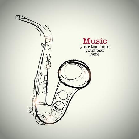 gestural: Grunge drawing saxophone with ink