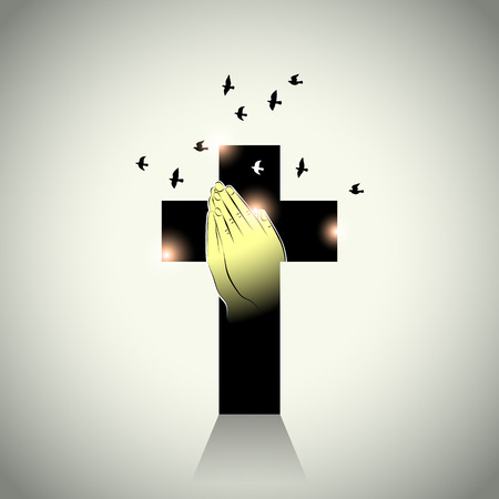 prayer hands: Vector: Two hands with prayer in cross and pigeons flying Illustration