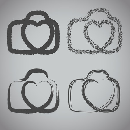 heartshaped: Vector: camera icon with heart-shaped. Doodle hand drawn sign in sketch style.