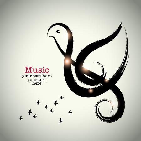 paloma: Grunge dibujo clef negro con pinceladas y p�jaro forma