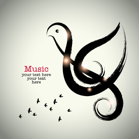 white dove: Grunge drawing black clef with brushwork and bird shape