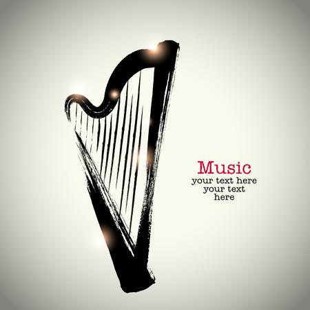 Grunge drawing harp with brushwork Çizim